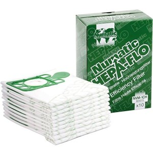 (BOX OF 10) NVM-1CH x 10 Numatic Hepa-Flo High Efficiency Filter Bags