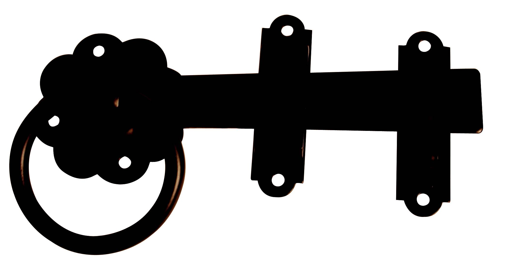 150mm Black Plain Contract Gate Ring Latch