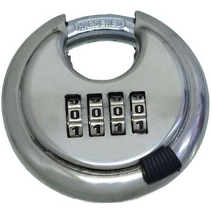 Padlocks 70mm Stainless Steel 4 Dial Combination Disc Padlock