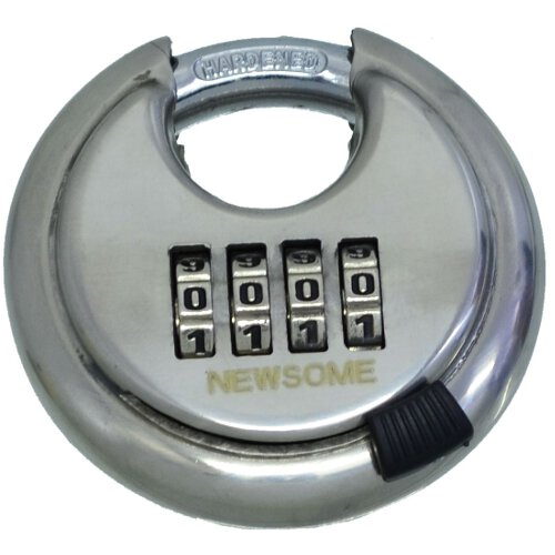 70mm Stainless Steel 4 Dial Combination Disc Padlock