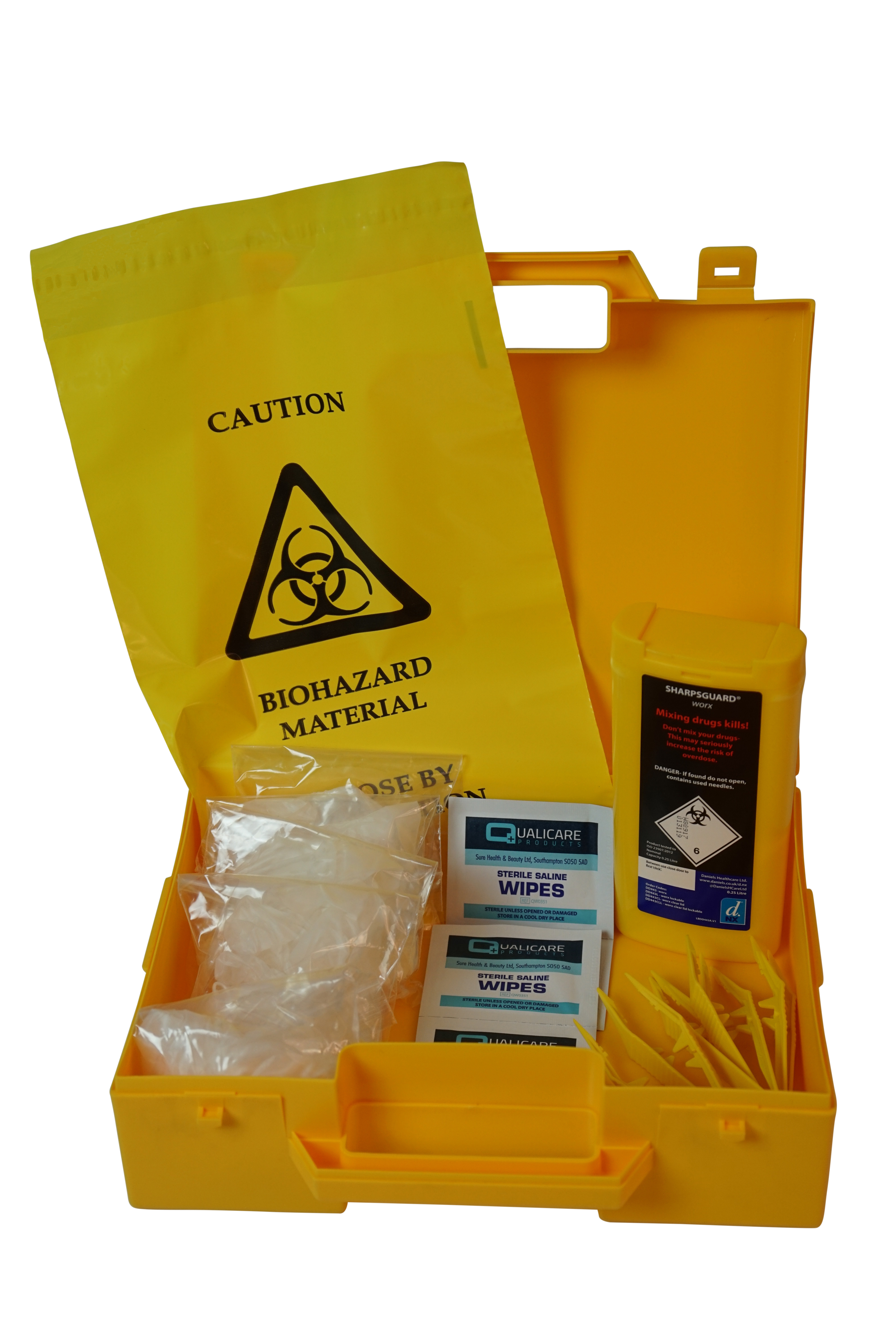 Sharps Disposal Kit comprising of 0.25 litre bin, 5 x wipes, disposal bags, gloves and tweezers supplied in yellow carrying case