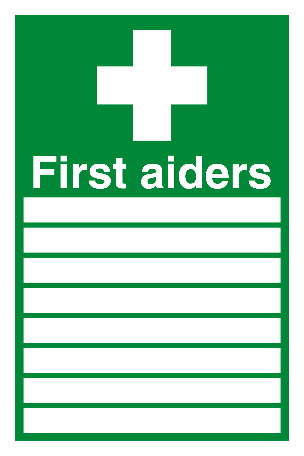300 x 200 First Aiders 1.2mm rigid polypropylene sign