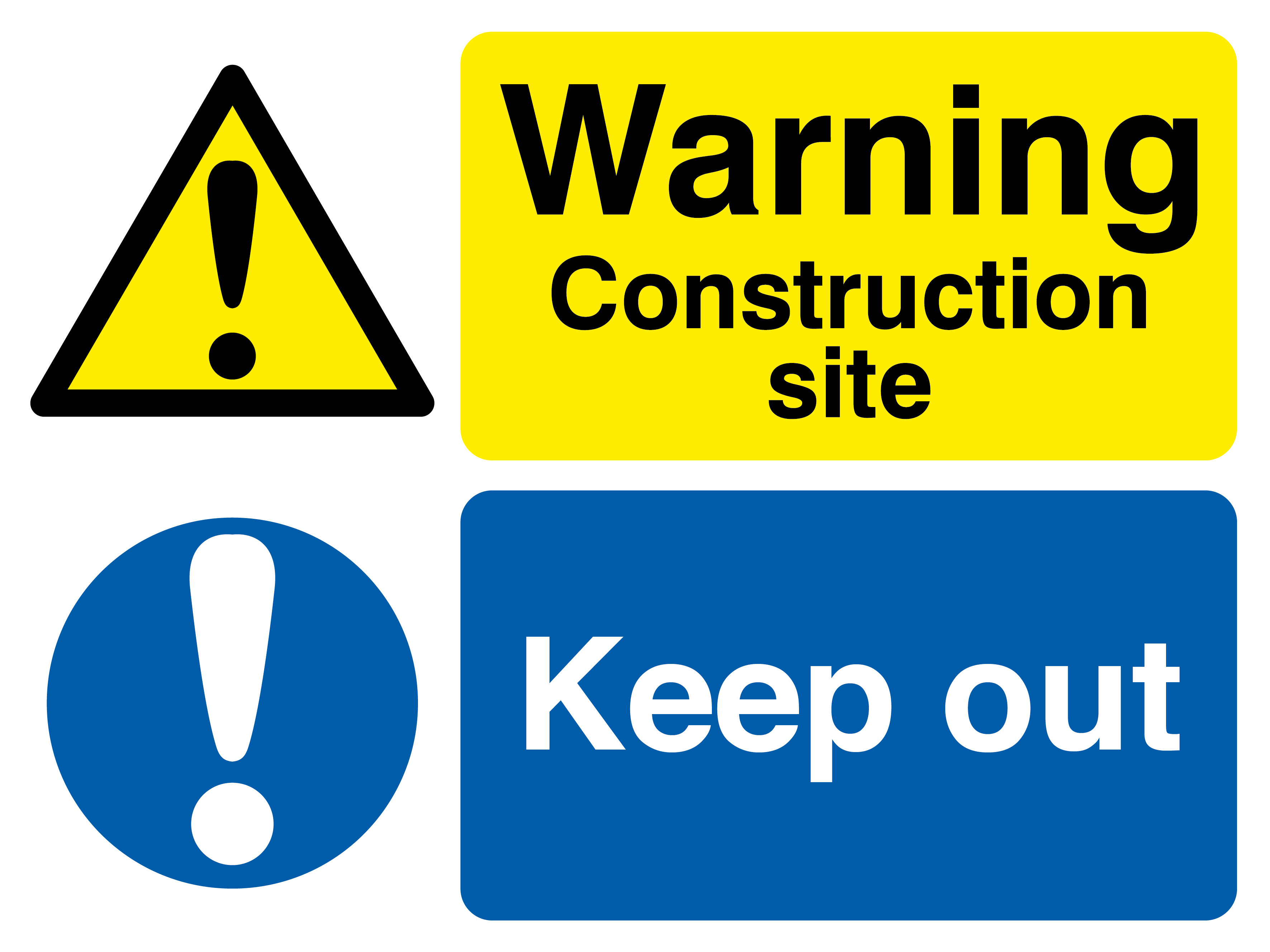 450 x 600 Warning Construction Site, Keep Out 1.2mm rigid polypropylene sign