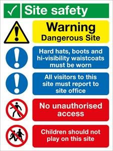 800 x 600 Site Safety 1.2mm rigid polypropylene sign