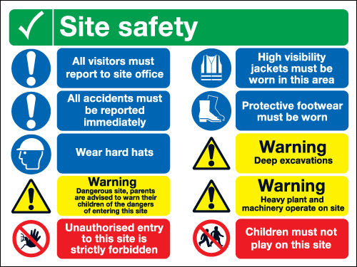 800 x 600 Site Safety Multi Message 1.2mm rigid polypropylene sign