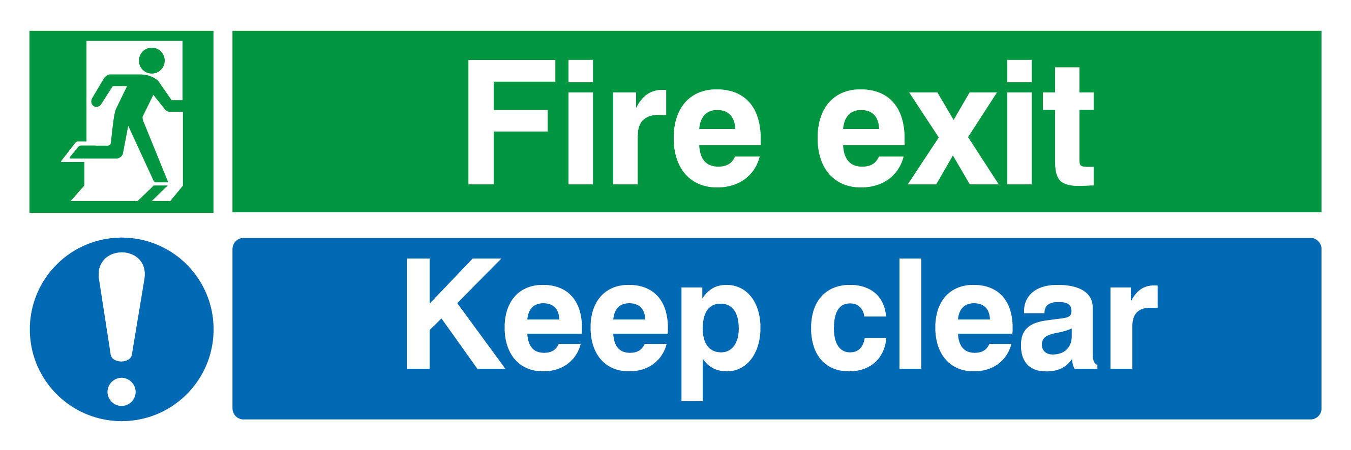 150 x 450 Fire exit keep clear 1.2mm rigid polypropylene sign