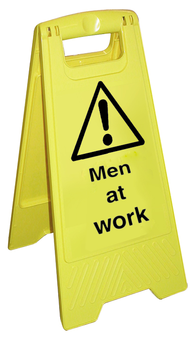 615x233 Danger men at work fold flat free standing safety stand