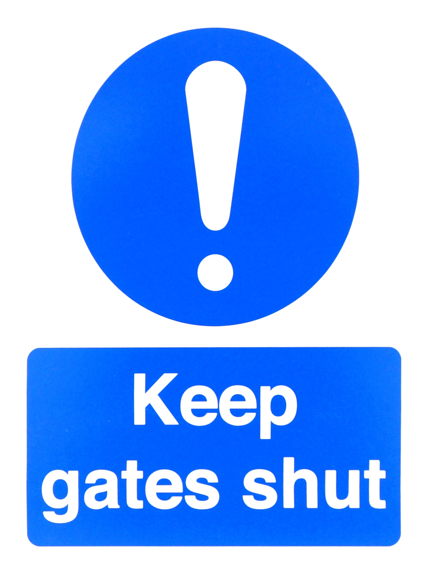 400 x 300 Keep gates closed white on blue sign 3mm foamed plastic