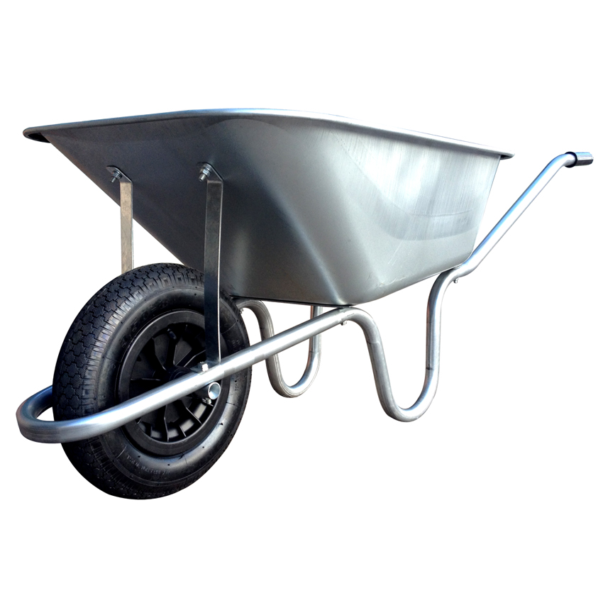 120 Litre Heavy Duty Galvanised Deep Press Pan 'The Invincible' Wheelbarrow with Pneumatic Tyre