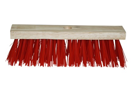 "13"" Red Polypropylene Hard Bristle Broom Head Only"